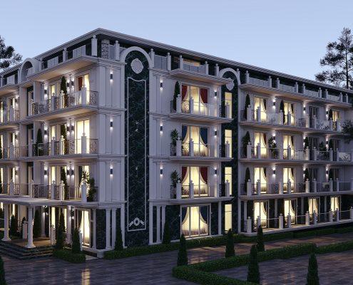 Фасад гостиницы с дороги классика